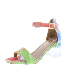 Load image into Gallery viewer, Clarisa1 Multi Green Open Toe Ankle Strap Lucite Block Heel - Wholesale Fashion Shoes ?id=18151806369836