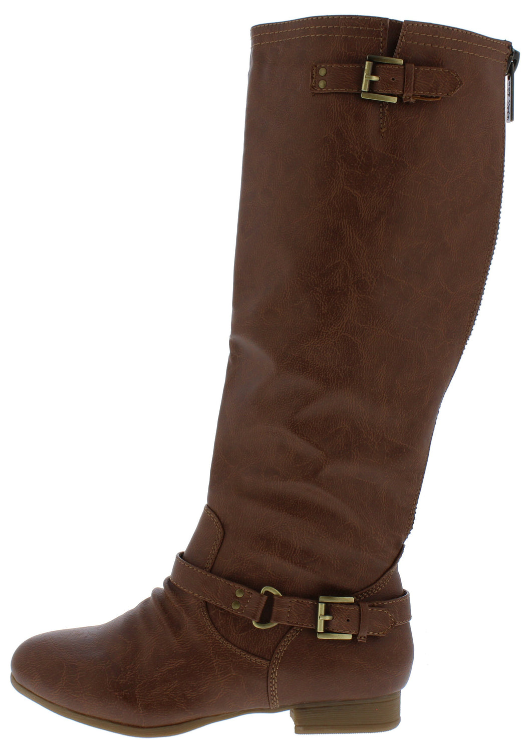 Coco1 Tan Dual Buckle Strap Knee High Boot - Wholesale Fashion Shoes ?id=15606862413868