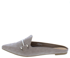 Diary27 Taupe Pointed Toe Metallic Bit Mule Loafer Flat - Wholesale Fashion Shoes ?id=16884977172524