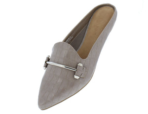 Diary27 Taupe Pointed Toe Metallic Bit Mule Loafer Flat - Wholesale Fashion Shoes ?id=16884976943148