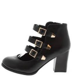 Lucas1 Black 3 Strap Buckle Chunky Ankle Boot