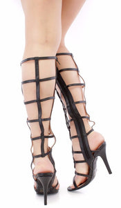 Jody Black Caged Open Toe Lace Up Knee High Boot