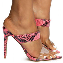 Load image into Gallery viewer, Exception31 Neon Pink Lucite Dual Strap Stiletto Mule Heel