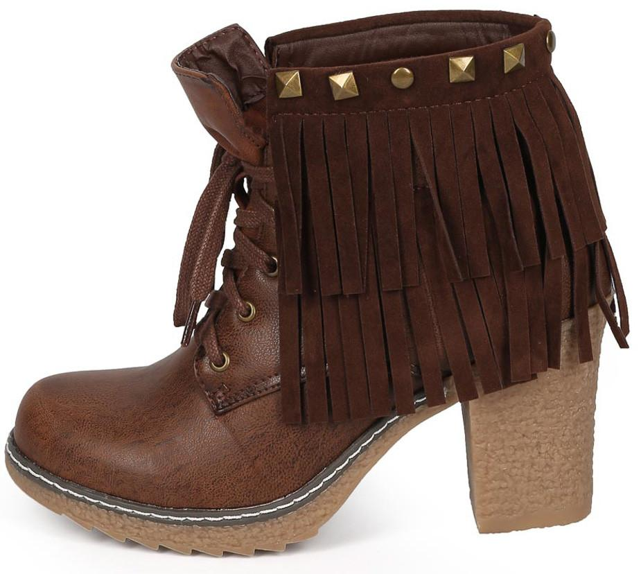 Forest03 Brown Lace Up Dual Fringe Stud Rugged Textured Heel Ankle Boot
