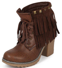Load image into Gallery viewer, Forest03 Brown Lace Up Dual Fringe Stud Rugged Textured Heel Ankle Boot
