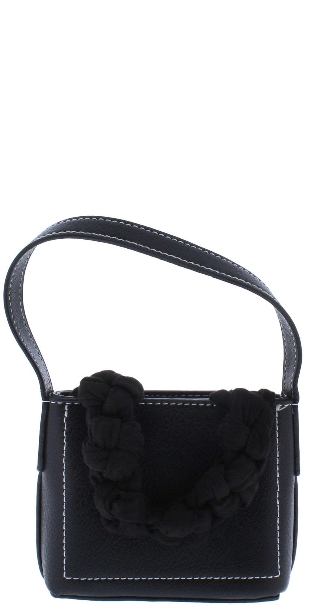 Perry054 Black Knotted Front Strap Mini Square Handbag - Wholesale Fashion Shoes ?id=18173506224172