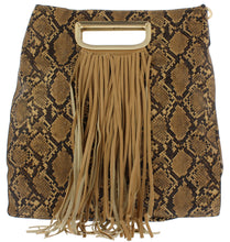 Load image into Gallery viewer, Noelle19 Brown Snake Fringe Handbag - Wholesale Fashion Shoes ?id=17400304402476