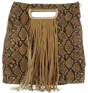 Noelle19 Brown Snake Fringe Handbag - Wholesale Fashion Shoes ?id=17400304402476