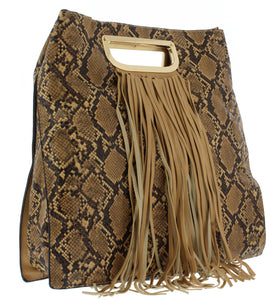 Noelle19 Brown Snake Fringe Handbag - Wholesale Fashion Shoes ?id=17400304238636