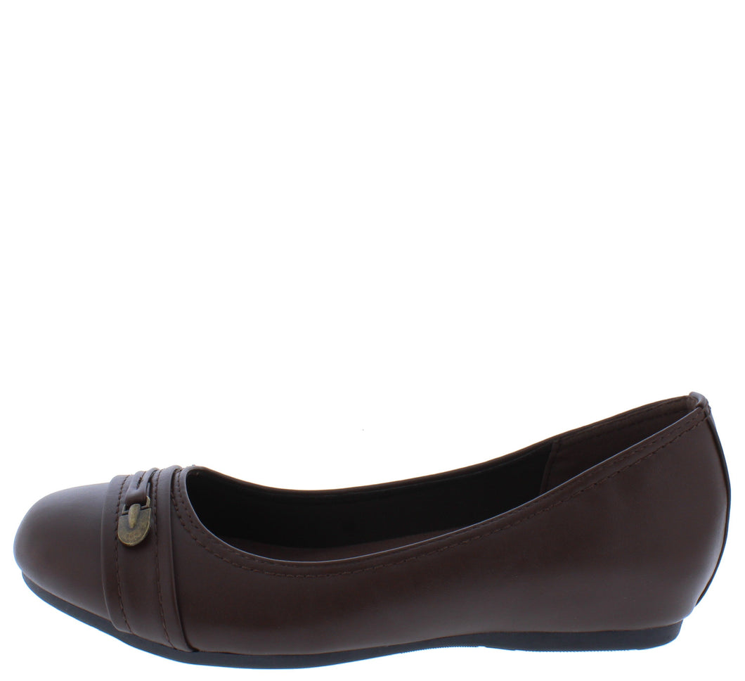 Inside7 Brown Round Toe Stitch Hardware Ballet Flat - Wholesale Fashion Shoes ?id=18158936358956