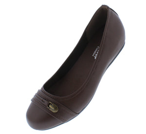 Inside7 Brown Round Toe Stitch Hardware Ballet Flat - Wholesale Fashion Shoes ?id=18158936326188