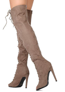 Interest87 Taupe Suede Lace Up Peep Toe Stiletto Boot