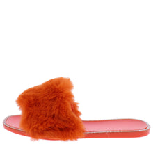 Load image into Gallery viewer, Diana075 Orange Faux Fur Open Toe Flat Slide Sandal - Wholesale Fashion Shoes ?id=18195328892972
