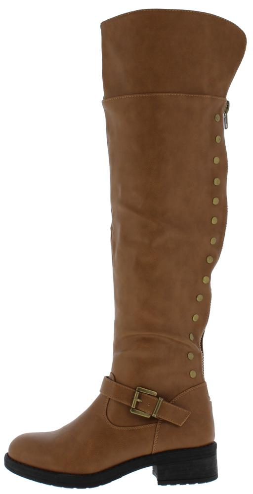 Megen02 Tan Over The Knee Studded Chunky Heel Boot