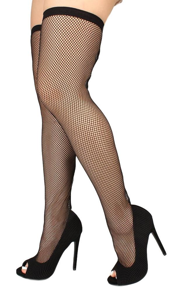 Oohlala Black  Toe Fishnet Overlay Thigh High Boot