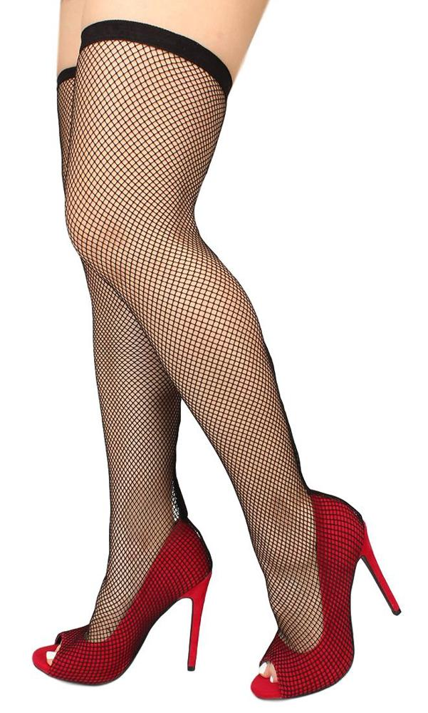 Oohlala Red Peep Toe Fishnet Overlay Thigh High Boot