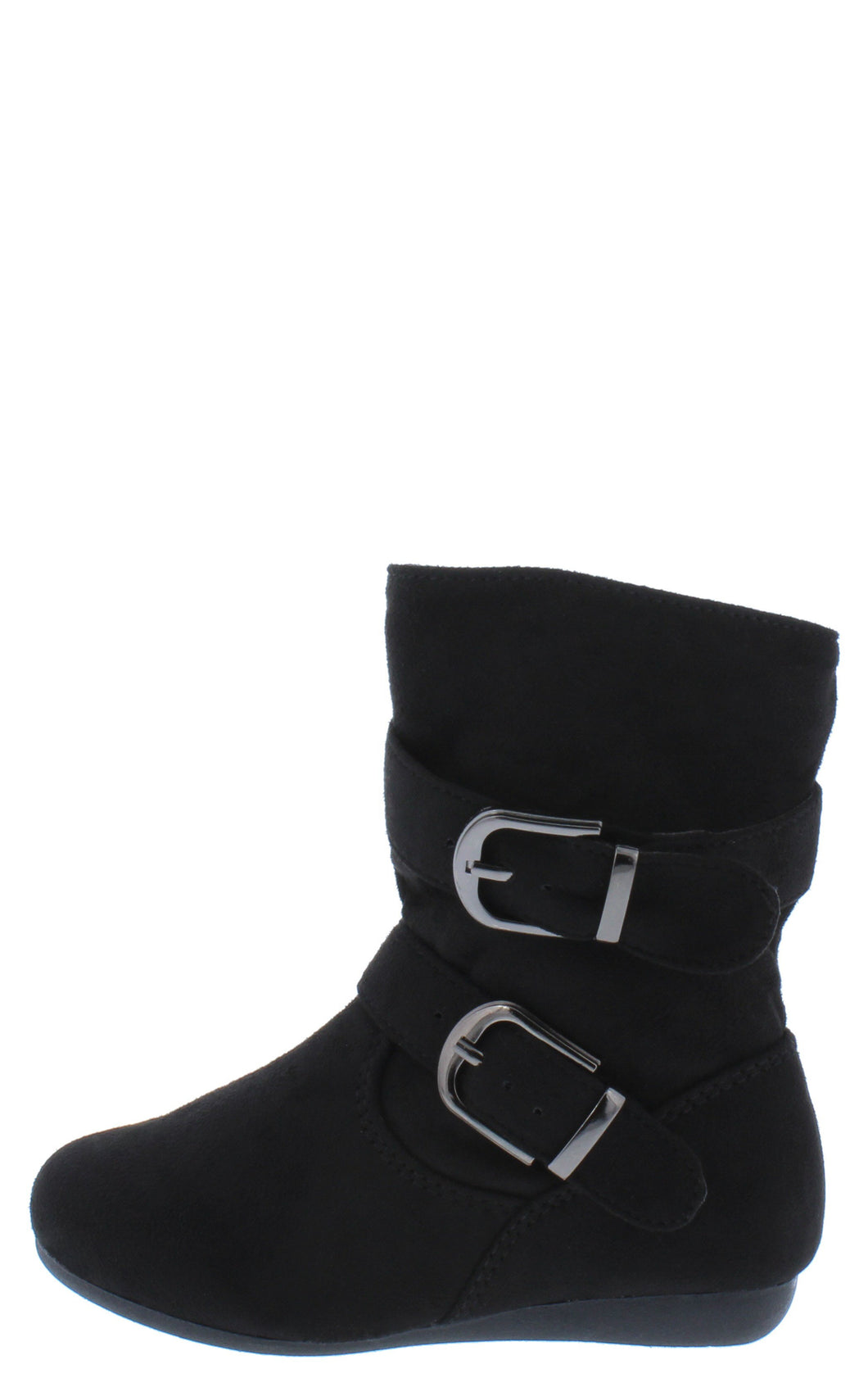 Rachel17k Black Slouchy Side Buckle Kids Ankle Boot - Wholesale Fashion Shoes ?id=18003152699436