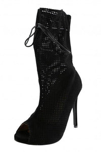 Sarah10 Black Open Toe Extended Shaft Perforated Stiletto Heel Ankle Boot