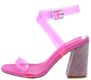 Sane Pink Lucite Open Toe Ankle Strap Rhinestone Heel