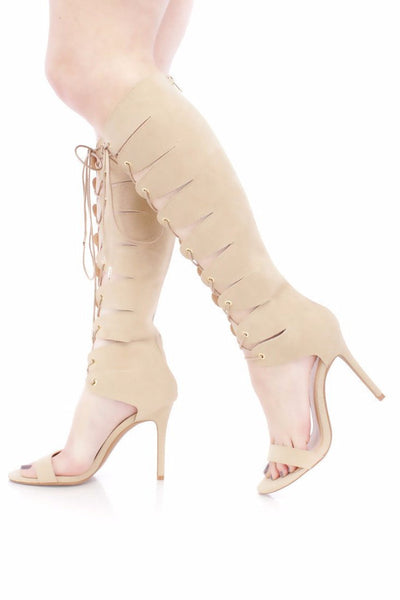 Shade Camel Open Toe Lace Up Boot