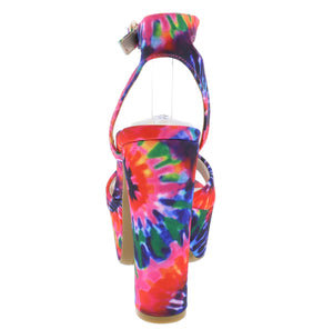 Shocking18 Hot Pink Tie Dye Women's Heel - Wholesale Fashion Shoes