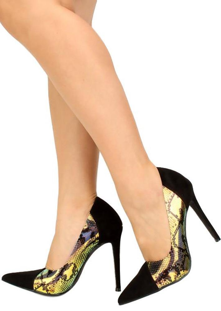 Spey Black Snake Hologram Pointed Toe Stiletto Heel
