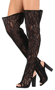 Spotlight44s Black Lace Cut Out Thigh High Boot - Wholesale Fashion Shoes ?id=4152984010817