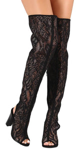 Spotlight44s Black Lace Cut Out Thigh High Boot - Wholesale Fashion Shoes ?id=4152983814209