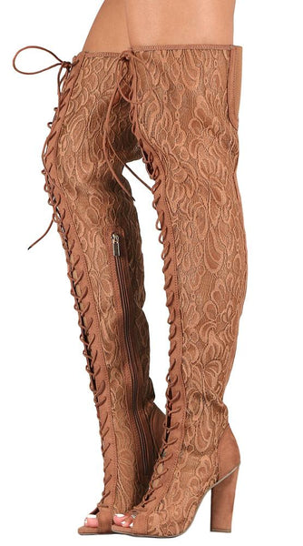 Sunlight01 Mocha Lace Thigh High Lace Up Boot