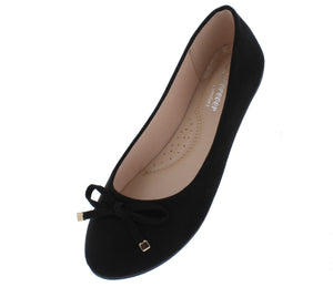 Supple24 Black Top Bow Round Toe Ballet Flat