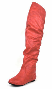 Vickie Hi Red Pu Over The Knee Flat Boot