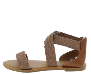 Waterfront22 Tan Open Toe Cross Strap Flat Sandal - Wholesale Fashion Shoes ?id=17065252323372