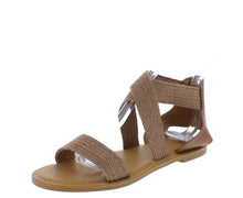 Load image into Gallery viewer, Waterfront22 Tan Open Toe Cross Strap Flat Sandal - Wholesale Fashion Shoes ?id=17065252388908