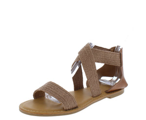 Waterfront22 Tan Open Toe Cross Strap Flat Sandal - Wholesale Fashion Shoes ?id=17065252388908