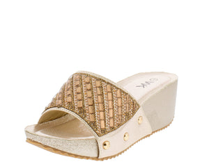 Isabella032 Gold Sparkle Embellished Lug Sole Mule Wedge - Wholesale Fashion Shoes ?id=6255421325377