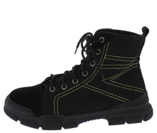 Load image into Gallery viewer, Wolf1 Black Stitched Lace Up Hiking Boot - Wholesale Fashion Shoes ?id=13055761252396