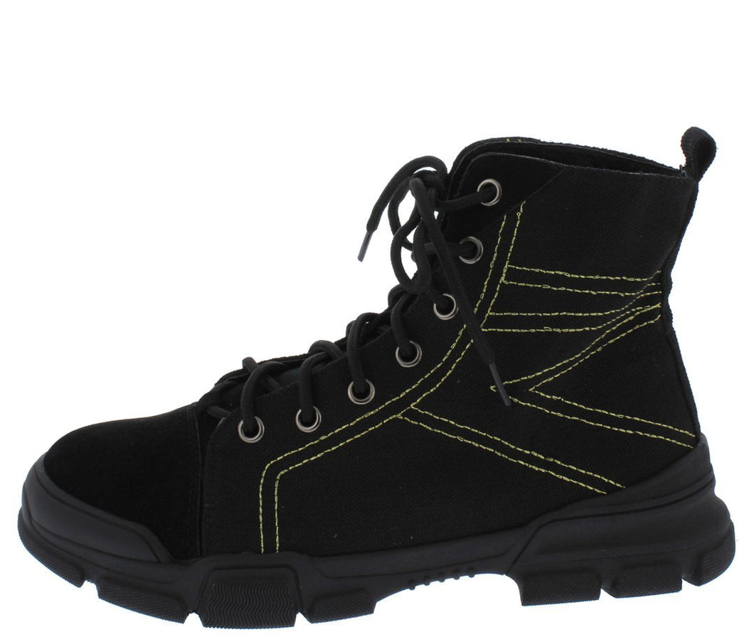 Wolf1 Black Stitched Lace Up Hiking Boot - Wholesale Fashion Shoes ?id=13055761252396