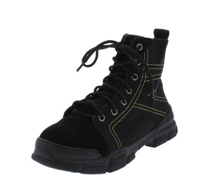Wolf1 Black Stitched Lace Up Hiking Boot - Wholesale Fashion Shoes ?id=13055761317932
