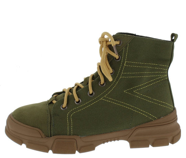 Wolf1 Green Stitched Lace Up Hiking Boot