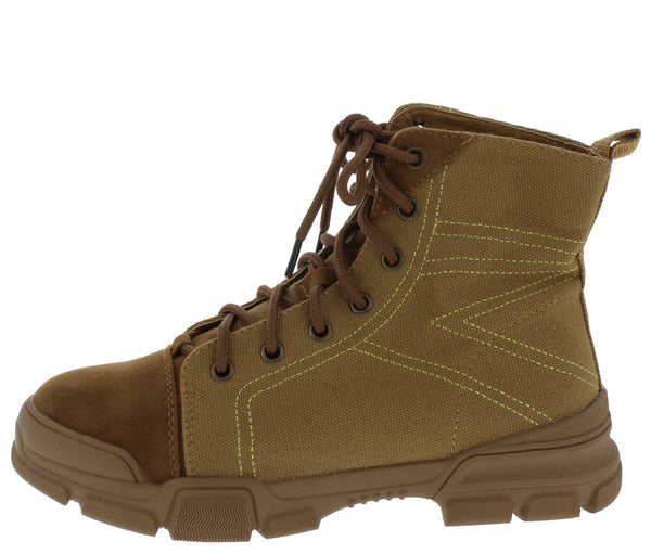 Wolf1 Tan Stitched Lace Up Hiking Boot