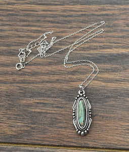 Sterling Silver Chain Necklace with Natural Turquoise Pendant