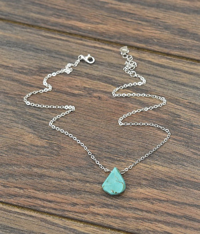Thick Sterling Silver Chain Necklace with Natural Turquoise