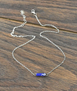 Thick* Sterling Silver Chain Necklace with Tiny Natural Stone in Navy