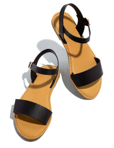 Black Leather Strap Sandals