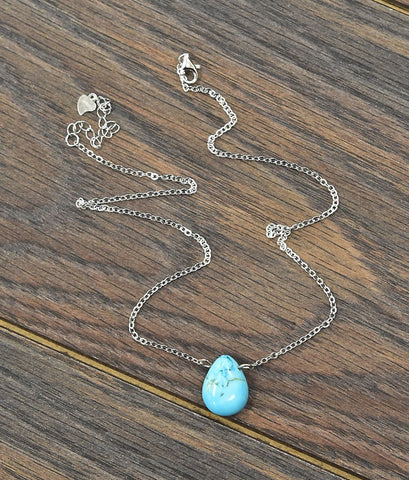 Thick* Platinum Plate Sterling Silver Chain Necklace with Natural Turquoise Solitare Pendant