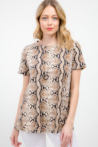 Snakeskin Print Tunic Top