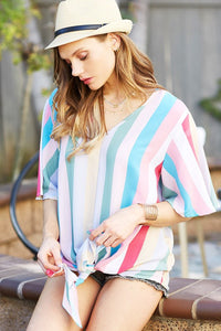 Multi Stripe Women V-Neck With Long Front Tie