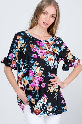 Floral Print Double Ruffle Sleeve Top