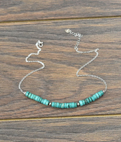 "15"" Platinum Plated Thick Sterling Silver Chain Necklace with Natural Turquoise"