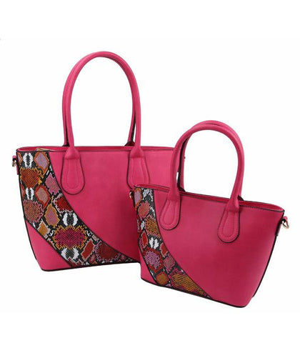 Two Piece Set Colorful Python Print Bags
